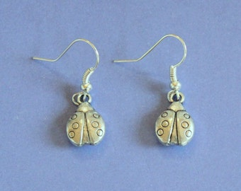 Silver Ladybird Dangly Earrings,Ladybird Earrings,Silver Ladybird,Tibetan Silver,Tibetan Charm,Silver Earrings,Silver Jewellery,Ladybug