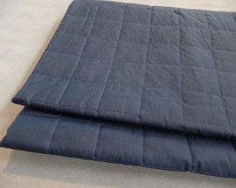Vintage Pre-quilted Fabric Navy Blue Lining for Coats Purses Totes Bags, Quilted Double Sided Liner 1960 - 70s Craft Sewing Supply, 1.66 yd