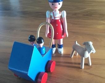 Rare Kay Bojesen Lise, stroller, twins and Tiny Tim dog