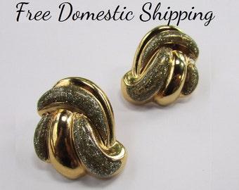 Avon Earrings, Elegant Avon Earrings, Vintage Avon Earrings, Glitter Earrings, Gold Silver Earrings, Evening Earrings, Free US Shipping