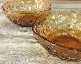 Honey Amber Seneca or Morgantown Crinkle or Driftwood Glass Bowls, Set of TWO