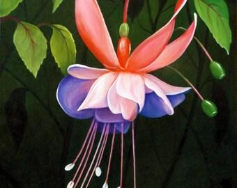 """Picture """"Fuchsias"""",Original oil painting"""