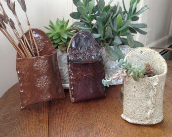 "6"" Stoneware Ceramic Wall Pocket /Planter"