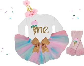 Baby Girl first birthday outfit / Ice Cream first birthday outfit / Ice Cream cone birthday outfit / Ice Cream birthday