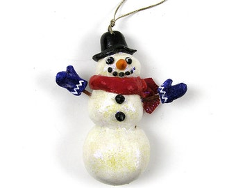 Vintage 1995 Christmas Ornament Snowman Ornament Salt Dough Ornament