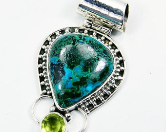 Malachite in Chrysocolla, Peridot & 925 Sterling Silver Pendant, Jewelry, P990