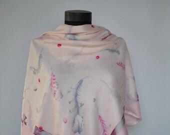 Vintage HANDMADE SILK SCARF , hand rolled silk scarf..........(303)