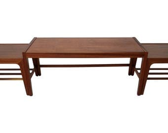 Teak Set of 3 Mid Century interlocking coffee table and end tables