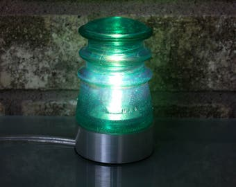 "Oriental Green Glass Insulator Lamp w  2 1/2"" Aluminum Base - Industrial Lighting - Man Cave Decor- Coastal Living Style"