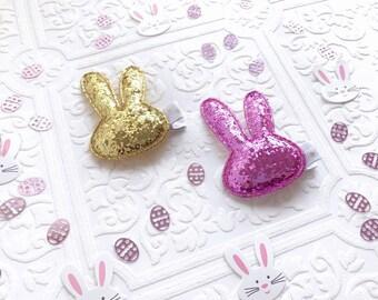 The Glitter Bunny Ear Clips or Headbands