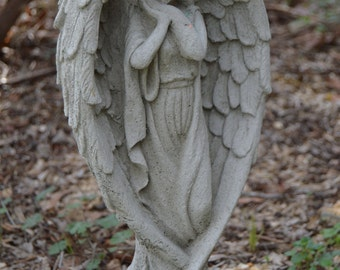 Solid Concrete Angel Garden Statue Memorial Antique Style