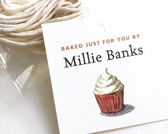 """Personalized Food Label Hang Tag, Baked Goods Tags, Custom Baking Tags, Gift for Bakers, Cupcake, 12 or 20 Tags, 2"""" sq. or 2.5"""" sq."""