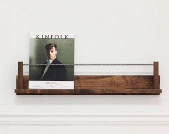 For krissolo: 4x The Columnist Walnut + Steel Magazine Rest (wall hanging magazine rack display ledge)