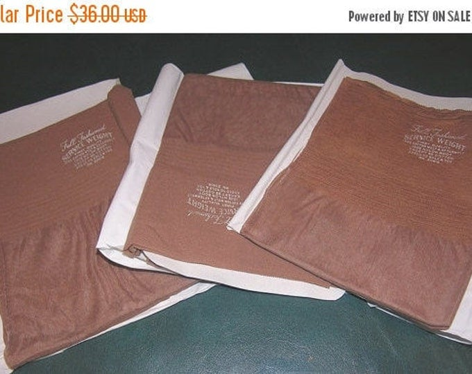 "30% OFF Vintage 3 Pair Full Fashioned Seamed Nylon Stockings Sz 11 1/2 X 34"" Long Service Weight Wide Plus size Welt For Plus Size Larger"