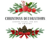 Christmas Watercolor Clipart, Holiday decoration, Christmas bouquet, Divider
