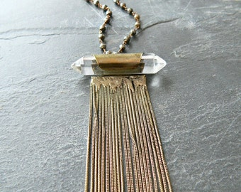 Quartz Point Crystal + Pyrite Gold Tassel Necklace