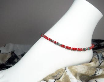 "Red Ankle Bracelet - Czech Glass Bracelet - Beaded Anklet - Red and Turquoise - Girls Size - Plus Size - 7"", 8"", 9"", 10"", 11"", 12"", 13"""