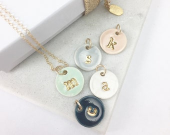 Four Initial Delicate Charm Necklace in 22k Gold Luster Overglaze on Ceramic Stoneware Includes Chain handmade monogram