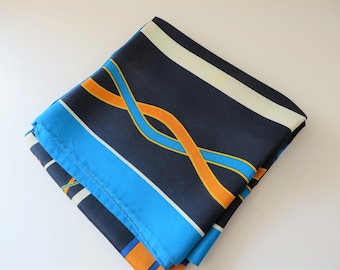 Vintage Blue and orange silk scarf