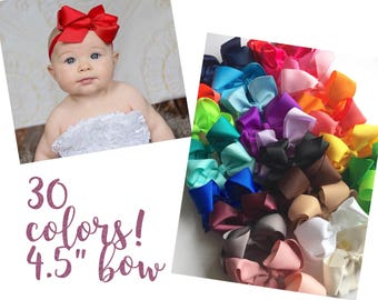 Baby headbands, PICK 5, 30 COLORS, 4.5 inch bow, ribbon headband, Infant headbands, baby headband, baby gift, girl gift, holiday gift baby
