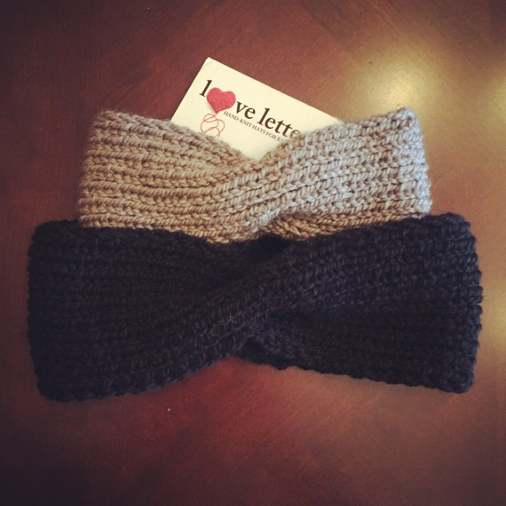 Hand-knit Ear warmer/headband in 100% merino wool