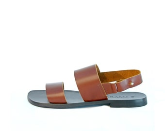 Brown Leather Men's Sandals - Brown Sandals - Men Sandals - Stripe Sandals - Hand Made Shoes - Arama Shoes