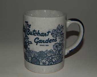Butchart Gardens Delft Style Blue White Pottery Ceramic Coffee Tea Mug Cup Victoria B.C. Canada