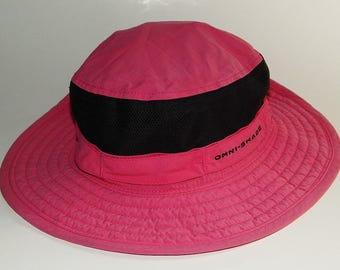 Columbia 0/5 Youth Mauve Pink Black Boonie Sun Hat Adjustable String