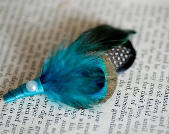 Custom listing for Diana Stern - Vintage Groom Groomsmen Peacock Boutonniere, Feather Boutonniere, Peacok Buttonhole, Feather Buttonhole
