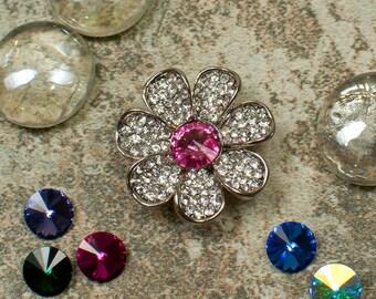 25 colors, Flower Pageant Sash Magnet, Flower Magnetic Brooch Pin, Flower Scarf Magnet