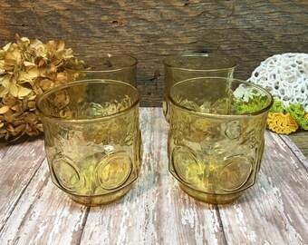 Gold Glasses/Set of Four/Low Balls/Circle Design