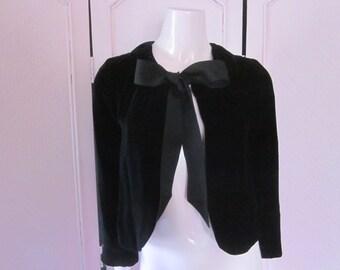 "1990s Black Velvet Silk Blend Evening Jacket by ""Banana Republic,"" Size 2"
