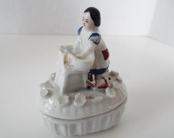 victorian antique German fairing box  trinket box miniature girl laundry baby doll wash day wash bowl