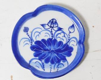 Small Ceramic Dish Cobalt Blue and White Flower Design