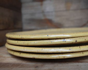 Set of 4 - Dinner Plates - Speckled Yellow - KJ Pottery