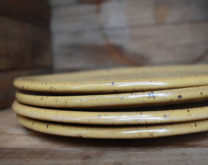 Set of 4 - Dinner Plates - Speckled Yellow - KJ Pottery