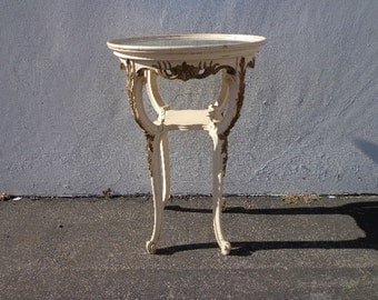 Table French Provincial Accent Side End Queen Anne Carved Wood Shabby Chic Vintage Painted Chalk Wood Entry Mirror Neoclassical Antique