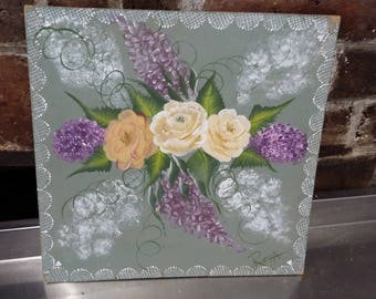 Original Oil Painting of Yellow and Purple Flowers Picture Floral