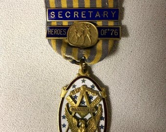 Vintage Miltary / Masonic Medal - National Sojourners Medal - Heroes of '76 - Secretary
