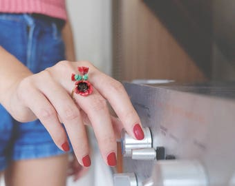 Poppy Ring , Flower Ring , Handpainted GOODAFTERNINE