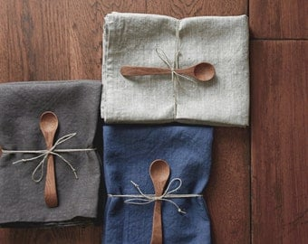 Blue Linen Tea Towels gift set of 2- natural linen kitchen towels- gift for her- set with wooden spoon