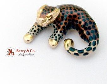 Vintage Leopard Pendant 14 K Gold Enamel