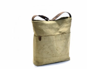 Canvas tote bag, recycled tote bag, canvas vintage bag, shoulder bag with leather handles