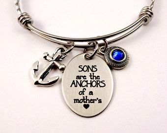 Sons Are Anchors of a Mother's Heart - Expandable Bangle Bracelet - Mom Mother Bracelet -  Personalized  Custom