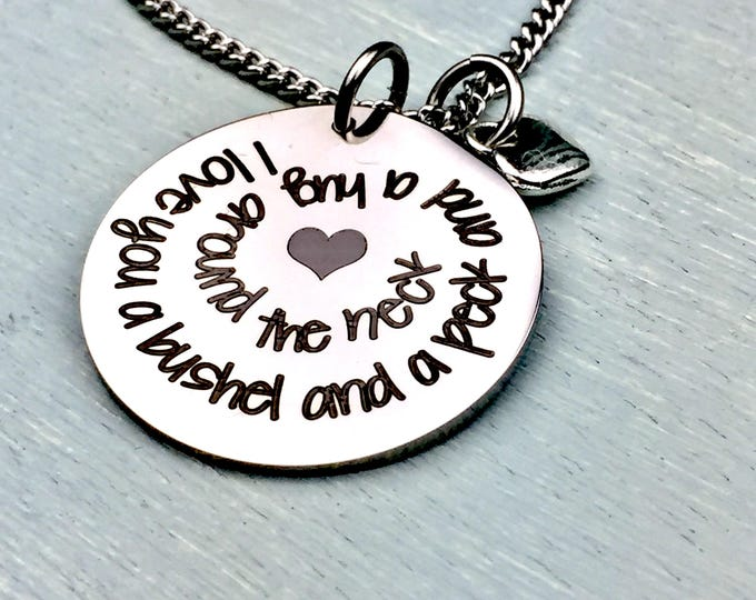 Engraved Bushel and a Peck pendant, guys and dolls, doris day, personalized, customized