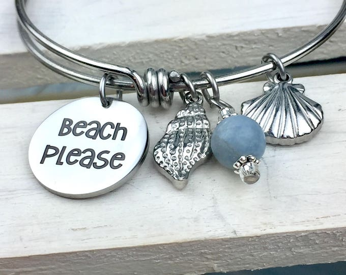 Beach Please Expandable Bangle Charm Bracelet, summer, flip flops, bikinis, sunshine, friends, party, toes in the sand, sunbathing, ocean