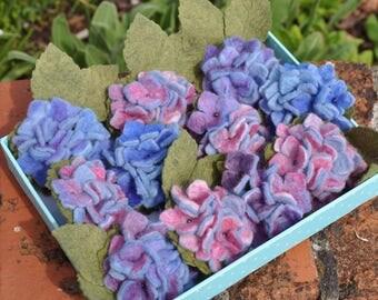 Felted Flower Brooch, Hydrangea