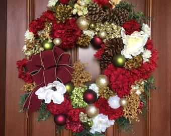 Magnolia Farmhouse Christmas Wreath, XXL Christmas Wreath, Holiday Front Door Wreath, Magnolia Holiday Front Door Wreath, XL Holiday Wreath