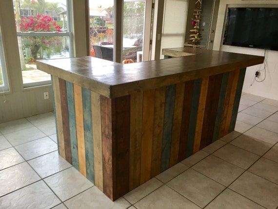 The Rustic Blues Rustic Barn Wood Style Bar Sales Counter