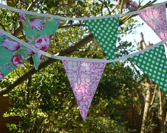 Handmade Fabric Bunting Turquoise/Green/Pink/White Floral Design, Green/White Dots 12 Double-Sided Flags for Home, Parties and more!